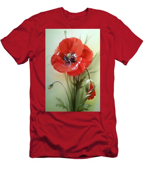Red Poppy Flower With Bud Men's T-Shirt (Athletic Fit)