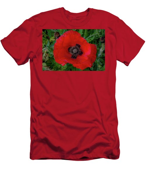 Men's T-Shirt (Athletic Fit) featuring the photograph Red Poppy by Lora J Wilson