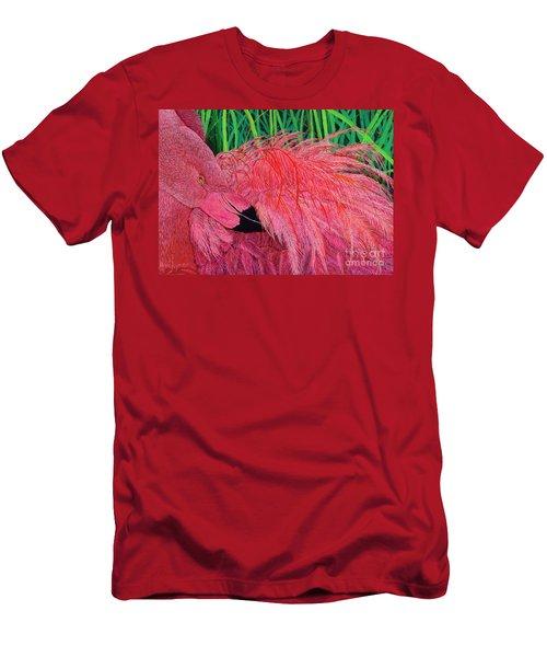 Ruffled Flamingo Men's T-Shirt (Athletic Fit)