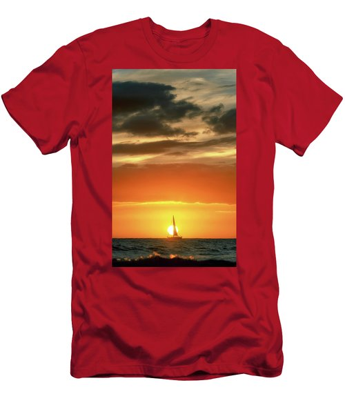 Sailboat In Front Of A Hawaiian Sunset Men's T-Shirt (Athletic Fit)