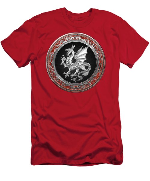 Silver Winged Norse Dragon - Icelandic Viking Landvaettir On Black And Silver Medallion Over Red  Men's T-Shirt (Athletic Fit)