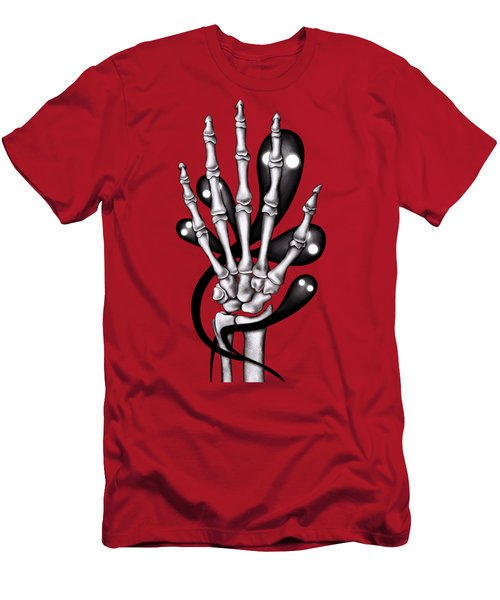 Skeleton Hand With Creepy Ghosts Men's T-Shirt (Athletic Fit)