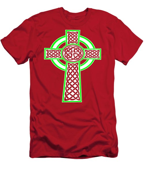 St Patrick's Day Celtic Cross White And Green Men's T-Shirt (Athletic Fit)
