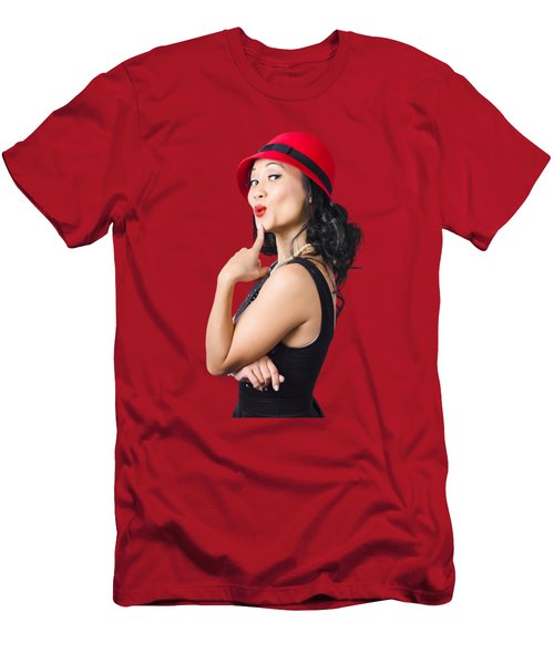 Summer Beauty Wearing Red Vintage Hat Men's T-Shirt (Athletic Fit)