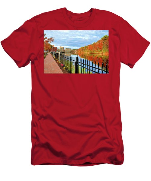 Men's T-Shirt (Athletic Fit) featuring the photograph The Lamprey River by Debbie Stahre