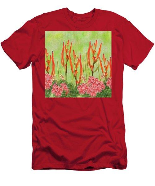 Tropical Floral Print Lime Green Batik Men's T-Shirt (Athletic Fit)