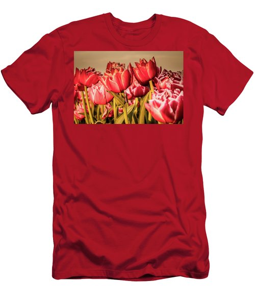 Men's T-Shirt (Athletic Fit) featuring the photograph Tulip Fields by Anjo Ten Kate