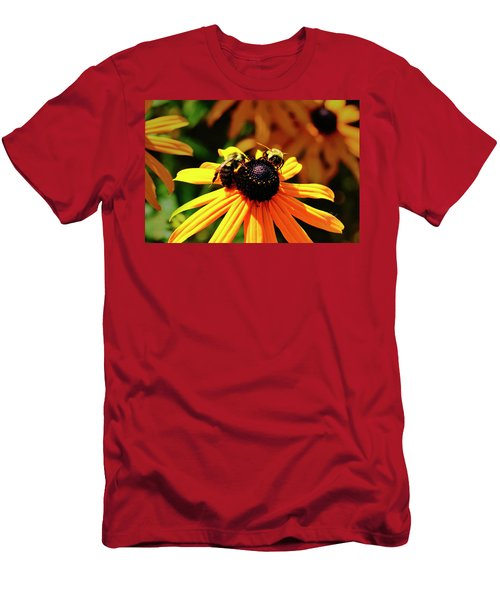 Men's T-Shirt (Athletic Fit) featuring the photograph Two Bees by Meta Gatschenberger