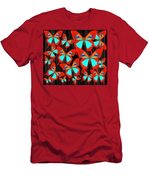 Men's T-Shirt (Athletic Fit) featuring the drawing Ulysses Multi Red by Joan Stratton
