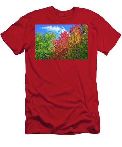 Men's T-Shirt (Athletic Fit) featuring the photograph Vibrant Autumn Hues At Cornell University - Ithaca, New York by Lynn Bauer