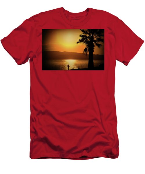 Men's T-Shirt (Athletic Fit) featuring the photograph Walking Down The Beach by Milena Ilieva