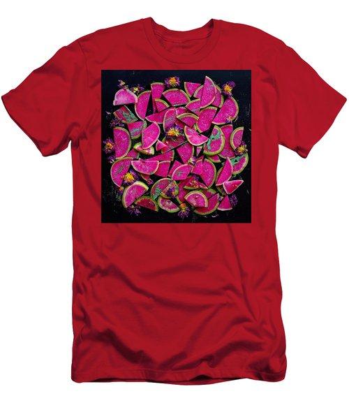 Watermelon Radish Edges Men's T-Shirt (Athletic Fit)
