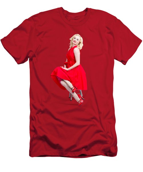 Woman In Romantic Red Dress. Retro Fashion Model  Men's T-Shirt (Athletic Fit)
