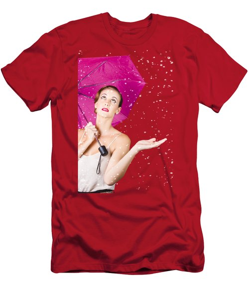 Woman With Umbrella Men's T-Shirt (Athletic Fit)
