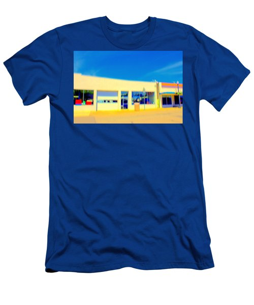Men's T-Shirt (Slim Fit) featuring the mixed media   Hopper Garage by Terence Morrissey