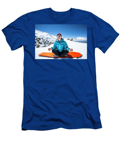 A Female Alpine Climber Practicing Yoga Men's T-Shirt (Athletic Fit)