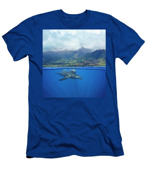 A Split Image Of A Pair Of Humpback Men's T-Shirt (Athletic Fit)
