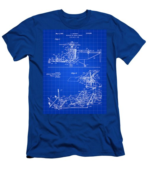 Helicopter Patent 1940 - Blue Men's T-Shirt (Athletic Fit)
