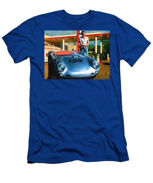 James Dean Filling His Spyder With Gas Men's T-Shirt (Slim Fit)