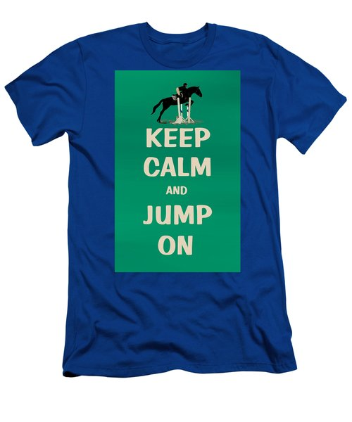 Keep Calm And Jump On Horse Men's T-Shirt (Athletic Fit)