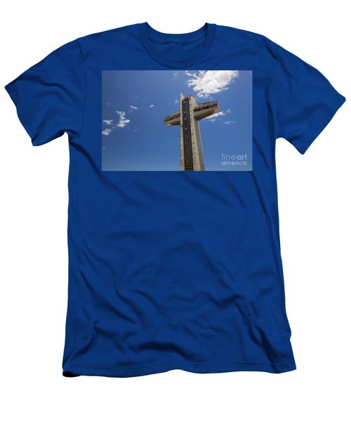 Men's T-Shirt (Athletic Fit) featuring the photograph La Cruz Del Vigia Against Blue Sky In Ponce Puerto Rico by Bryan Mullennix
