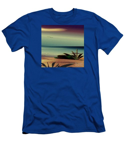 Men's T-Shirt (Slim Fit) featuring the drawing Sunset On The Beach by Iris Gelbart