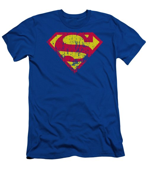 Superman - Classic Logo Distressed Men's T-Shirt (Athletic Fit)