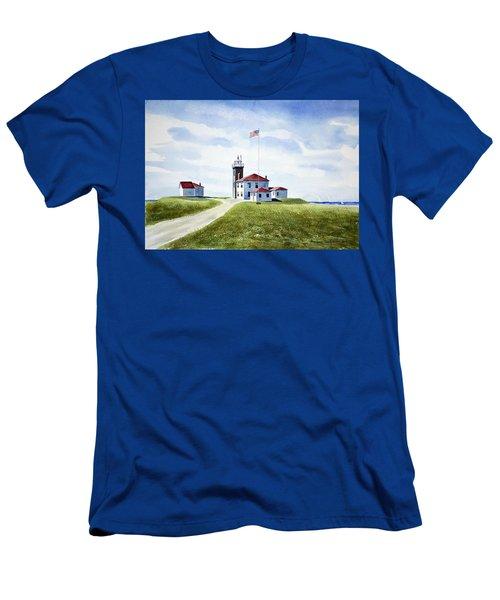 Watch Hill Ri Lighthouse Men's T-Shirt (Slim Fit) by Joan Hartenstein