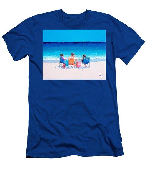 Beach Painting 'girl Friends' By Jan Matson Men's T-Shirt (Slim Fit) by Jan Matson