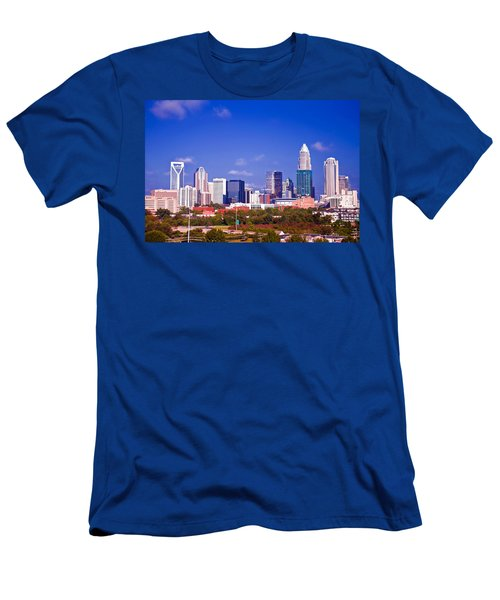 Men's T-Shirt (Slim Fit) featuring the photograph Skyline Of Uptown Charlotte North Carolina At Night by Alex Grichenko