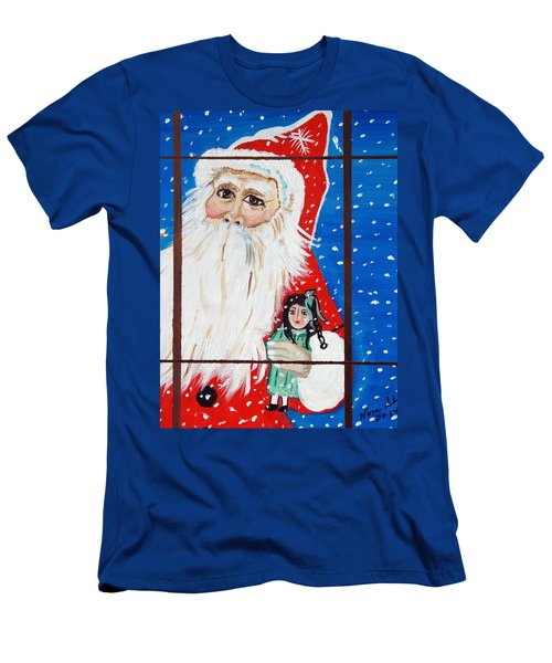 Men's T-Shirt (Slim Fit) featuring the painting Christmas Card by Nora Shepley