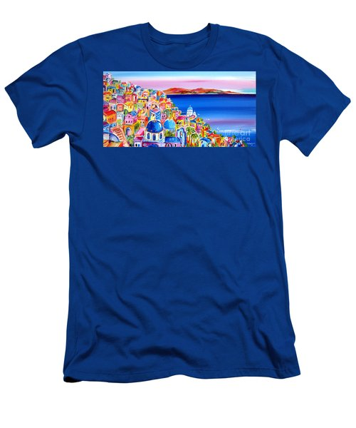 A Bright Day In Santorini Greece Men's T-Shirt (Slim Fit) by Roberto Gagliardi