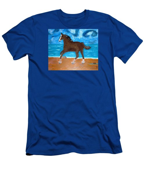 A Horse On The Beach Men's T-Shirt (Slim Fit) by Magdalena Frohnsdorff