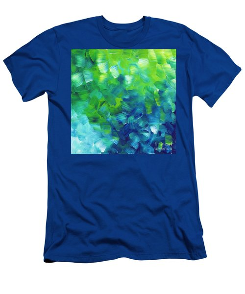 Abstract Art Original Textured Soothing Painting Sea Of Whimsy I By Madart Men's T-Shirt (Athletic Fit)