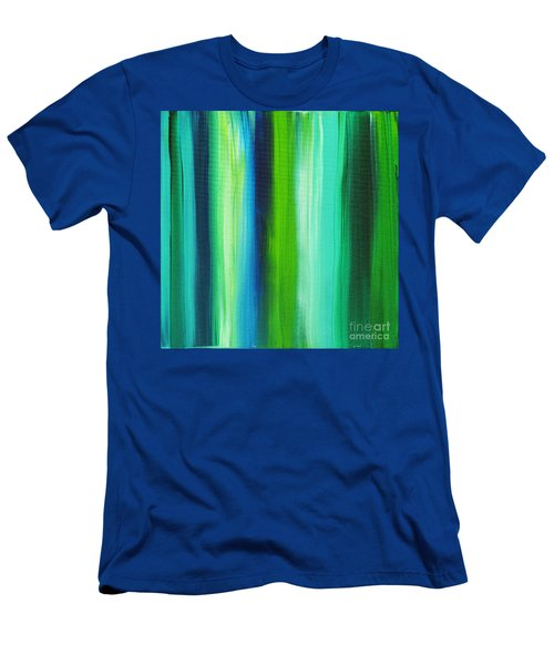 Abstract Art Original Textured Soothing Painting Sea Of Whimsy Stripes I By Madart Men's T-Shirt (Athletic Fit)