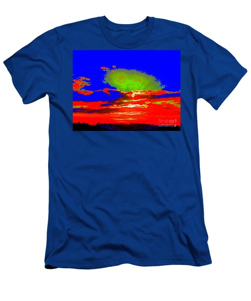 Abstract Sunset Orange Blue Green And So On Men's T-Shirt (Athletic Fit)