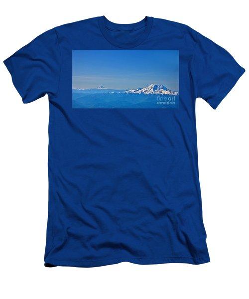 Aerial View Of Mount Rainier Volcano Art Prints Men's T-Shirt (Slim Fit) by Valerie Garner