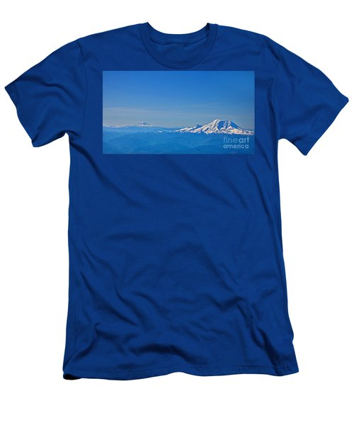 Aerial View Of Mount Rainier Volcano Art Prints Men's T-Shirt (Athletic Fit)