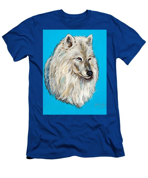 Men's T-Shirt (Slim Fit) featuring the painting Alaska White Wolf by Bob and Nadine Johnston