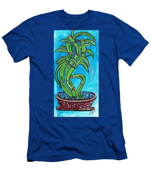 Men's T-Shirt (Slim Fit) featuring the painting Bamboo Twist by Ecinja Art Works