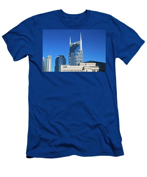Batman Building And Nashville Skyline Men's T-Shirt (Slim Fit) by Dan Sproul