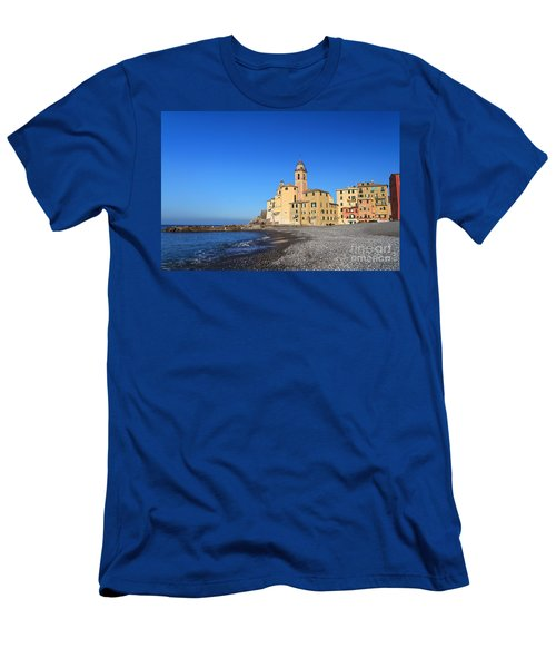 Men's T-Shirt (Slim Fit) featuring the photograph beach and church in Camogli by Antonio Scarpi