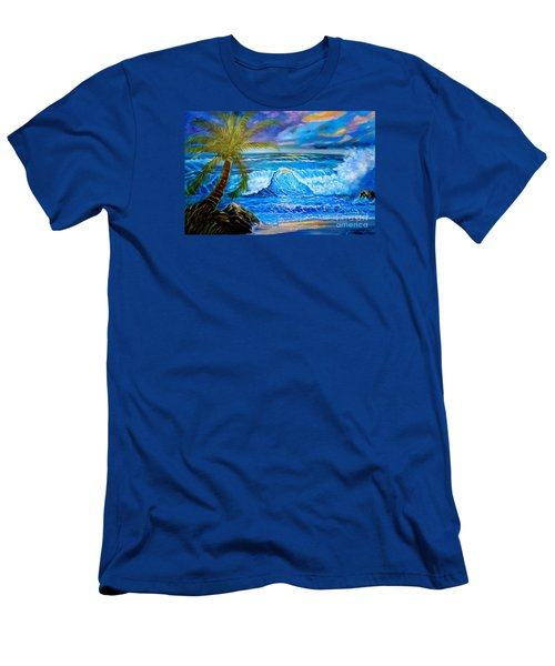 Men's T-Shirt (Slim Fit) featuring the painting Beach Sunset In Hawaii by Jenny Lee