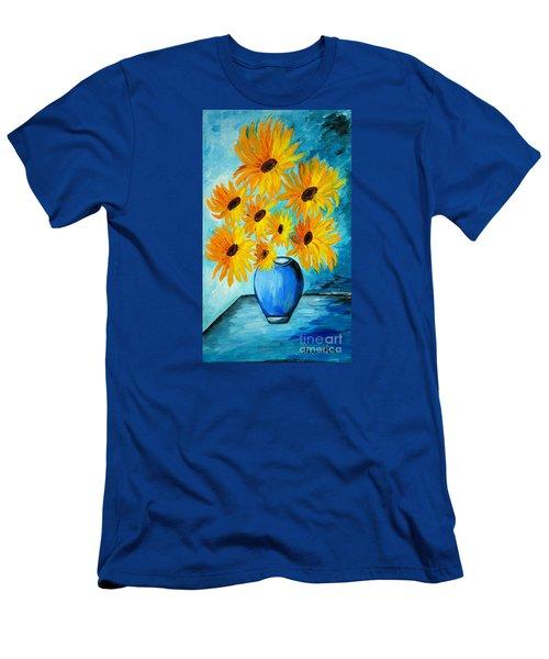 Beautiful Sunflowers In Blue Vase Men's T-Shirt (Slim Fit) by Ramona Matei
