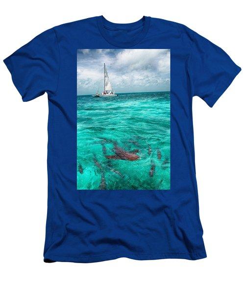 Belize Turquoise Shark N Sail  Men's T-Shirt (Athletic Fit)