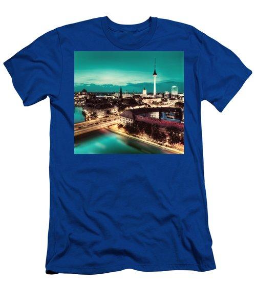 Berlin Germany Major Landmarks At Night Men's T-Shirt (Athletic Fit)
