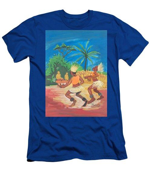 Men's T-Shirt (Slim Fit) featuring the painting Bikutsi Dance 2 From Cameroon by Emmanuel Baliyanga