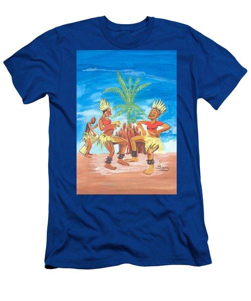 Men's T-Shirt (Slim Fit) featuring the painting Bikutsi Dance 3 From Cameroon by Emmanuel Baliyanga