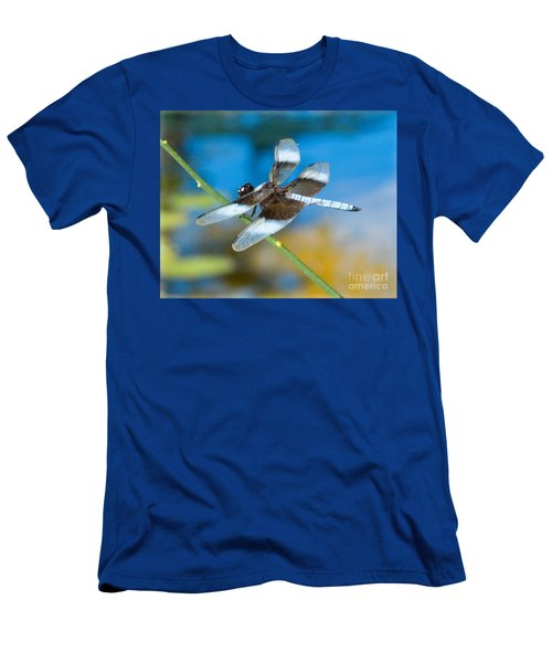 Men's T-Shirt (Athletic Fit) featuring the photograph Black And White Dragonfly by Mae Wertz