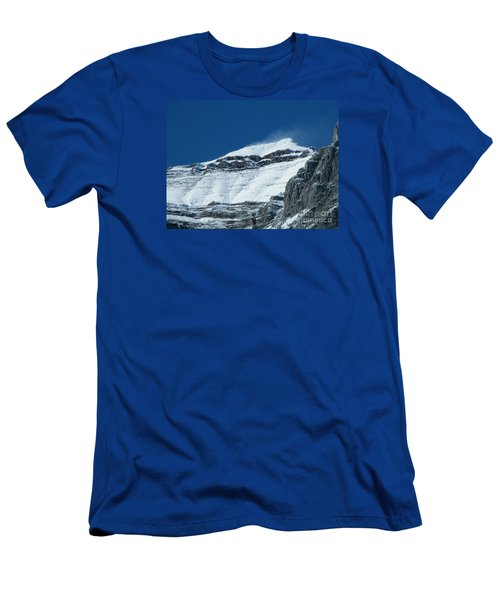 Men's T-Shirt (Athletic Fit) featuring the photograph Blowing Snow by Ann E Robson